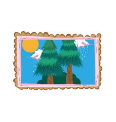 pines forest landscape in square frame vector image