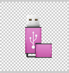 Realistic pink usb flash drive isolated object vector