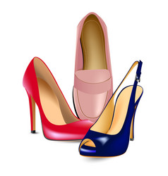 red high-heeled shoespink shoes loafers and blue vector image