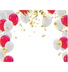 Red white balloons confetti concept design vector