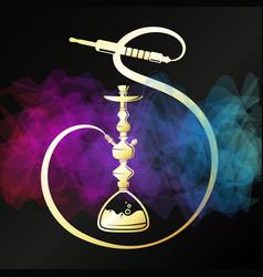 relaxing and smoking golden hookah unique design vector image