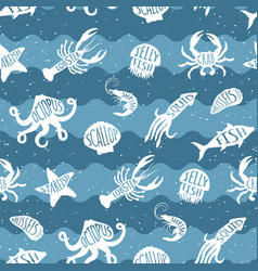 repeating pattern with seafood products vector image
