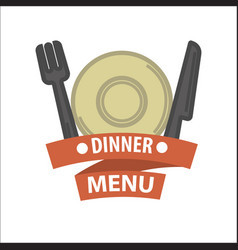 Restaurant icon template of menu element vector
