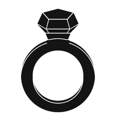 Ring with gemstone icon simple style vector image