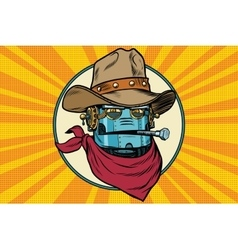 Robot cowboy West wild world vector image