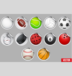 round stickers with sport balls and equipment vector image