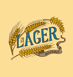 rye for wheat beer in vintage style alcoholic vector image