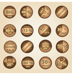 Sale paper brown circle icons set for discount vector