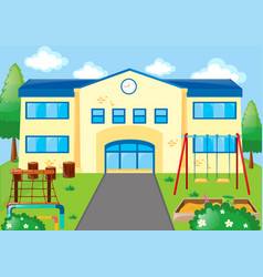 School scene with playground vector