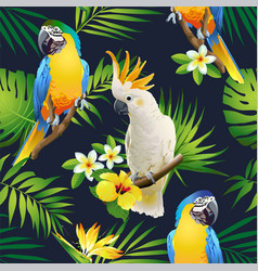 seamless pattern parrots cockatoo on tropic vector image