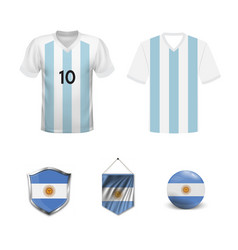 Set argentina football supporter flags and vector