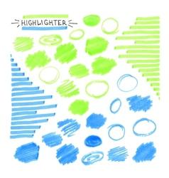 Set blue and green fluorescent highlighter vector