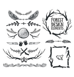 set hand drawn tribal frames and dividers vector image