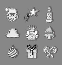 Set merry chrstmas decoration design vector