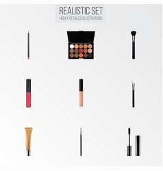 set of cosmetics realistic symbols with mascara vector image