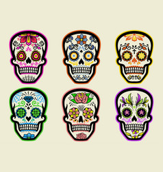 set sugar skull collection vector image