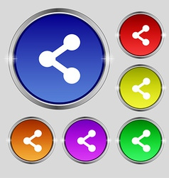 Share icon sign Round symbol on bright colourful vector