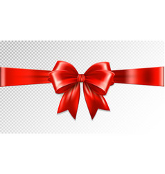 Shiny red satin ribbon on transparent background vector