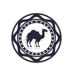 Silhouette border with camel icon vector