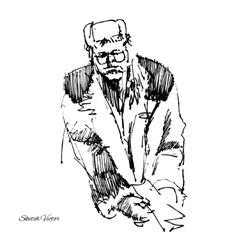 Sketch of men in a coat vector image