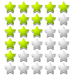 Star rating template from initial zero to 5 stars vector
