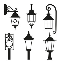 Street lamp black silhouette set isolated on white vector