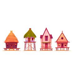 summer stilt houses bungalows on sea beach vector image