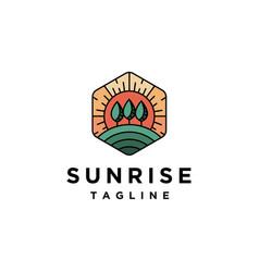 sunrise outdoor landscape logo template vector image
