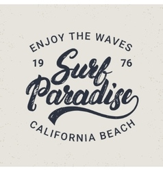 Surf paradise hand written lettering typography vector image