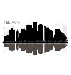 tel aviv israel city skyline black and white vector image