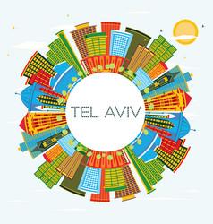 tel aviv israel city skyline with color buildings vector image