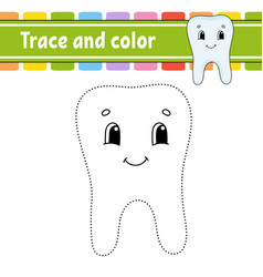 trace and color coloring page for kids vector