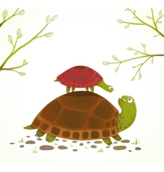 Turtle Mother and Baby Childish Animal Cartoon vector image