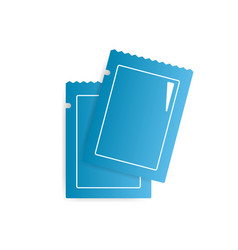 two blank blue glossy sachets icon vector image