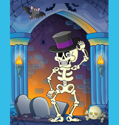 Wall alcove with halloween theme 9 vector