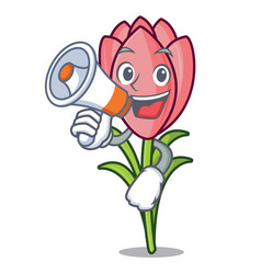 With megaphone crocus flower character cartoon vector