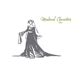 woman dress medieval elegant clothes concept vector image