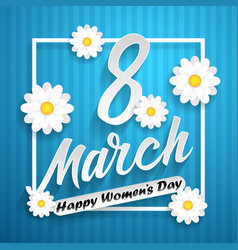 women day lettering on blue background with vector image