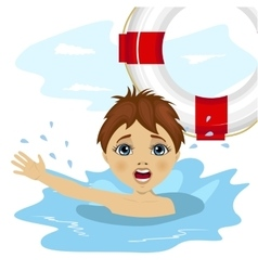 Young boy screaming in water vector