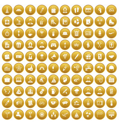 100 team building icons set gold vector image vector image