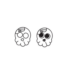 cute skull vector image vector image