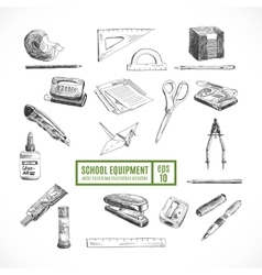 Hand drawn set of school items Back to vector image