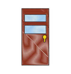 isolated brown door icon vector image