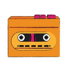 old cassette recorder pop art colors vector image