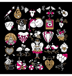 St Valentines icons vector image