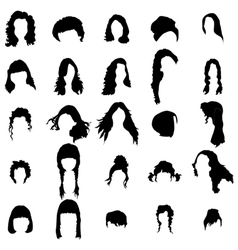 Woman hair style silhouettes set vector image