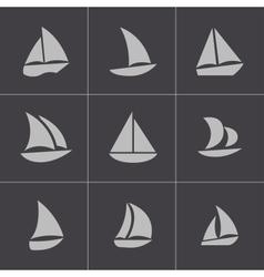 black sailboat icons set vector image