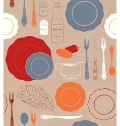 Different tableware and food ingredients vector image vector image
