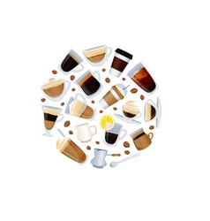 different types of coffee with beans vector image