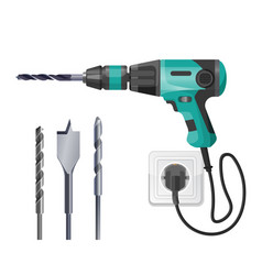 electric drilling machine cord plugged into socket vector image